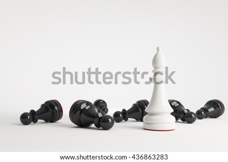 White chess bishop win black pawns. Business concept of leadership. Chess game over. 3d rendering. - stock photo