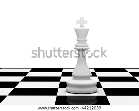 White chess king on chessboard on white background. High quality 3d render. - stock photo
