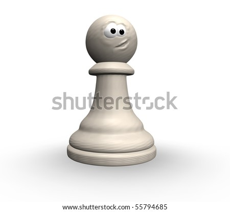 white chess pawn with comic face - 3d illustration - stock photo
