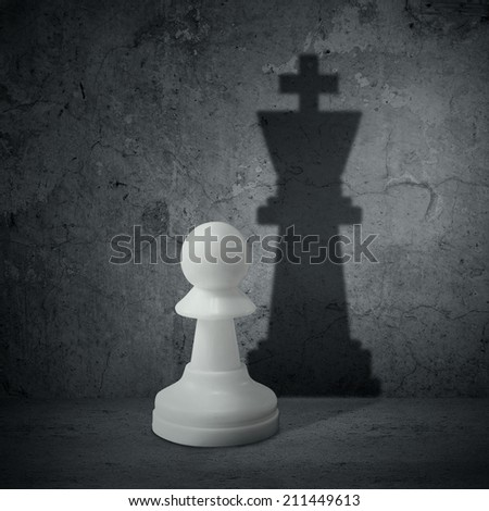 White chess pawn with the shadow of a queen - stock photo