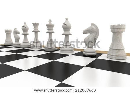 White chess pieces in a row on white background - stock photo