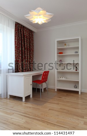 White child room with red additions - stock photo