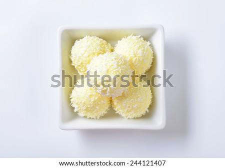 White Chocolate Coconut Snowball Truffles - stock photo