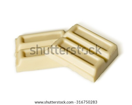 white chocolate isolated on white background. Path included - stock photo