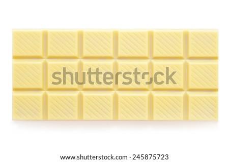 white chocolate tablet on white - stock photo