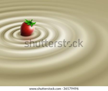 White chocolate whit strawberry - stock photo