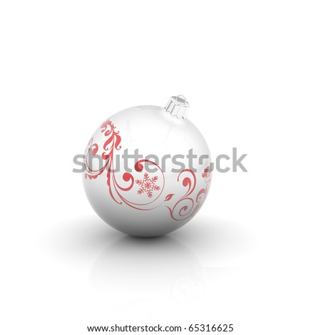 White christmas ball with red curl on white background - stock photo