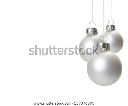 white christmas balls isolated hanging with white background  - stock photo