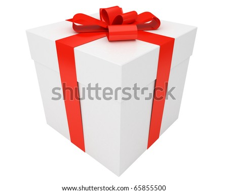 white christmas gift box wrapped with red ribbon isolated on white background - stock photo