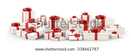 White christmas gift boxes, presents with red bows and ribbons isolated 3d rendering - stock photo