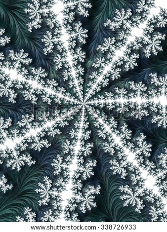 White Christmas pattern snowflake on blue green grey fractal feather design abstract background - Fashion color trends collection: Fall Winter 2015 - 2016 - stock photo