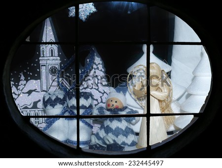 White Christmas - The Christmas decorations - look out the window - stock photo