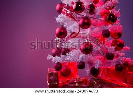 White Christmas tree, big silver star, red xmas tree decoration ,red Christmas decoration  - stock photo