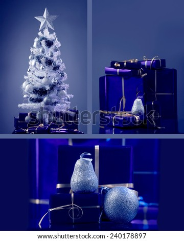 White Christmas tree with silver decoration and violet gift boxes under the tree  - stock photo