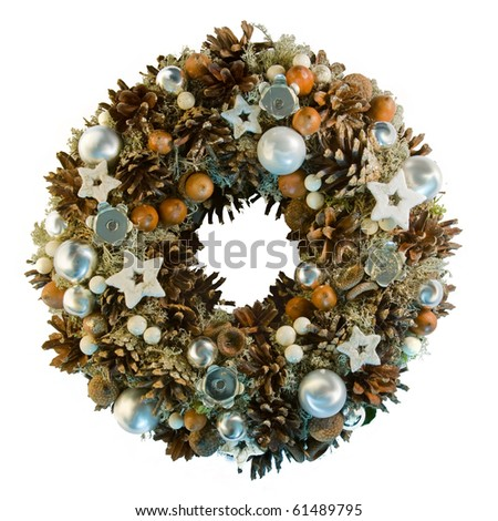 White Christmas wreath from natural materials - stock photo