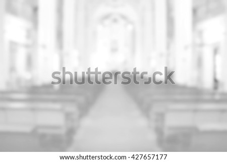 White Church blurred background. Priest Pastor Preacher Learning Bible Religion Truth Honesty Sacrament Practice Liturgy Memorial Spiritual Mental Spiritual Gospel Love Services Windows Catholic Holy - stock photo