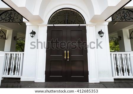 White Church door. - stock photo
