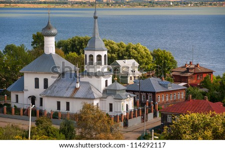 White church on lake in Rostov, small russian provincial town near Moscow - stock photo