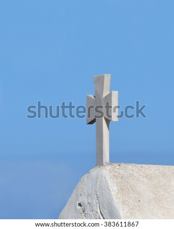 White Church Top Detail in Santorini Greece with copy space in the sky - stock photo