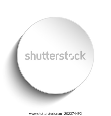 White Circle Button on White Background - stock photo