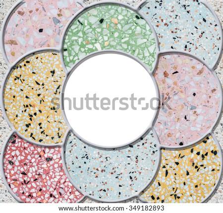 White circle frame by mix of colorful marble stone floor texture background - stock photo