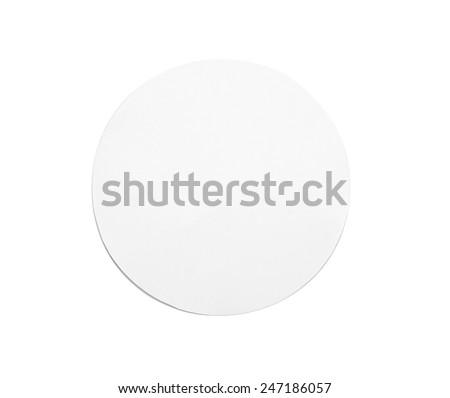 White circle paper on white background - stock photo