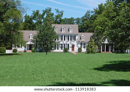 white clapboard American country house - stock photo