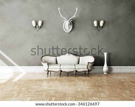 White classical style sofa in vintage room. 3D illustration - stock photo