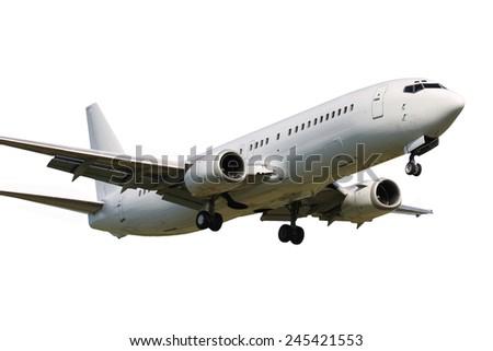 White clean plane landing on white background - stock photo