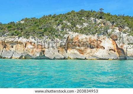 white cliff in Orosei Gulf, Sardinia - stock photo
