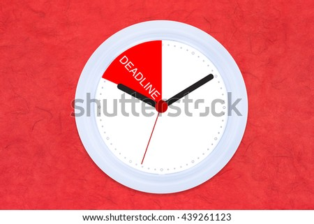 White Clock Black and Red Hand with Creative Concept Work Life Success on Red Rice Mulberry Rough Paper Texture Background Copy space on the Right  / Work Life Balance Integrated for Success People - stock photo
