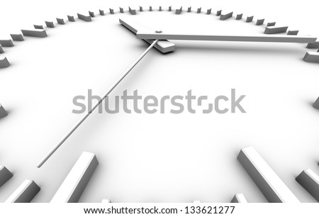 white clock perspective view - stock photo