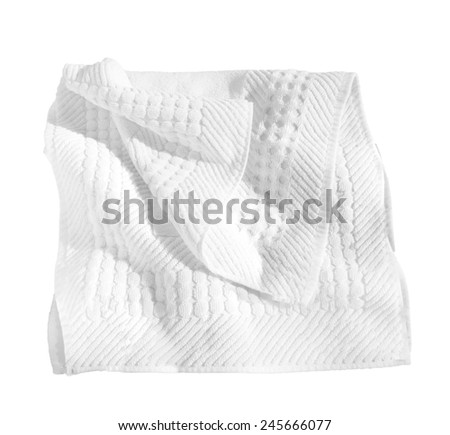 white cloth beach towels isolated on white background with clipping path. - stock photo