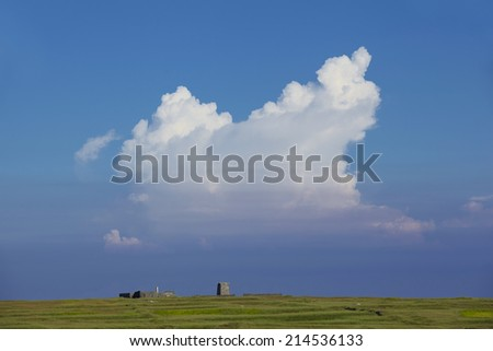 white cloud and blue sky on the grass land - stock photo