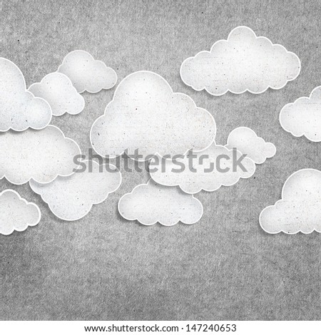 white cloud recycled paper craft on background - stock photo