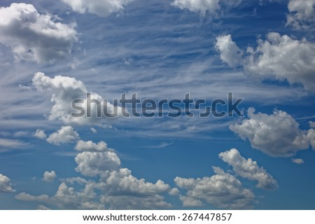 White clouds against blue sky. - stock photo