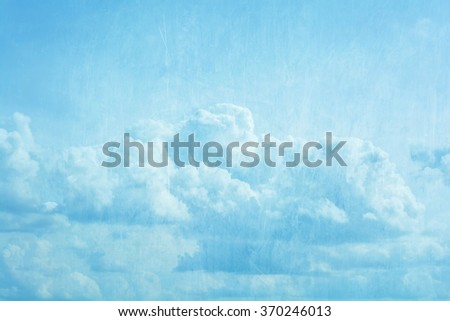 white clouds and blue sky in grunge style - stock photo