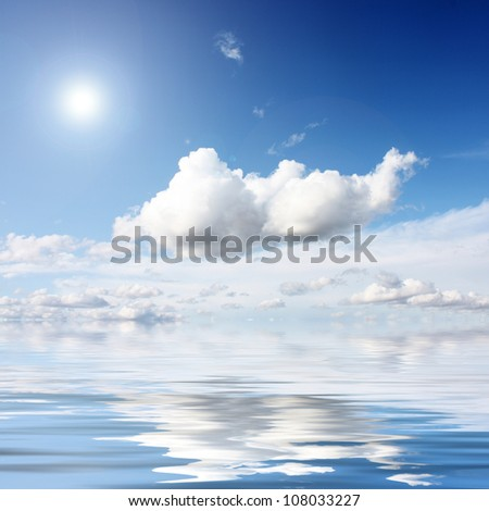 white clouds on blue sky in season - stock photo