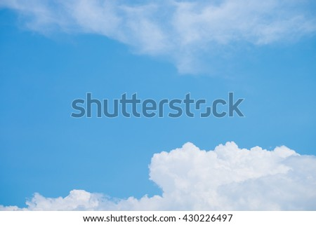 White Clouds on the bright sunny blue sky. Nature background. - stock photo