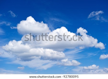 white clouds. perfect blue sky - stock photo