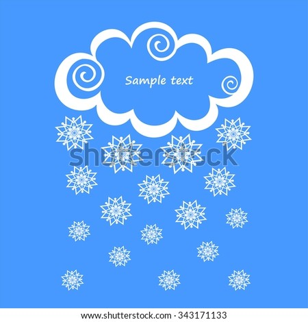 White clouds with snow on blue background.  Illustration - stock photo