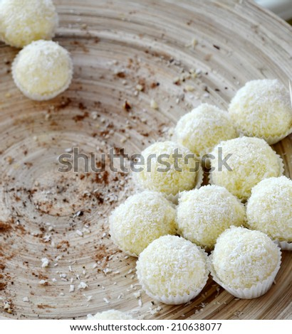 White coconut candy - stock photo