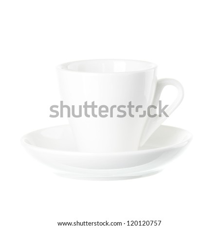 white coffe cup isolated - stock photo