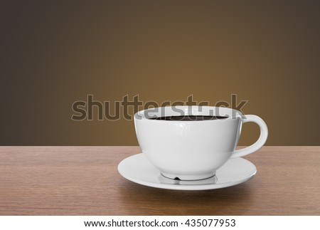 white coffee cup and hot espresso coffee on wooden table. brown background - stock photo