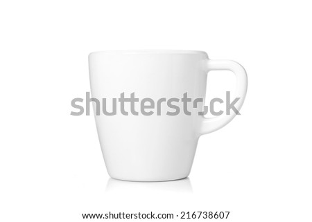 White coffee cup isolated on white background. include clipping path. - stock photo