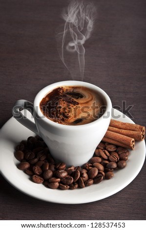 white coffee cup on background - stock photo