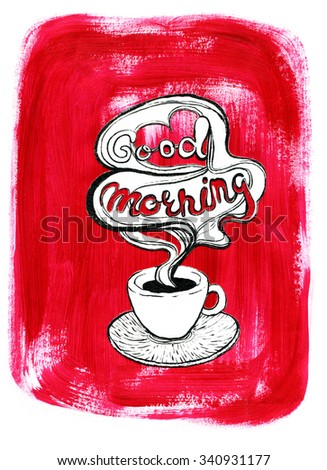 White coffee cup on painted red acrylic background. Illustration for cooking site, menus and food designs. - stock photo