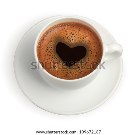 white coffee cup with heart shape made of foam - stock photo