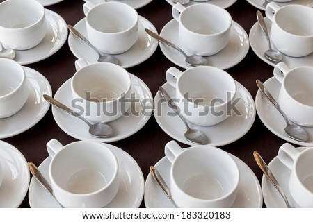 White coffee cups in the seminar room, Hotel, Thailand - stock photo