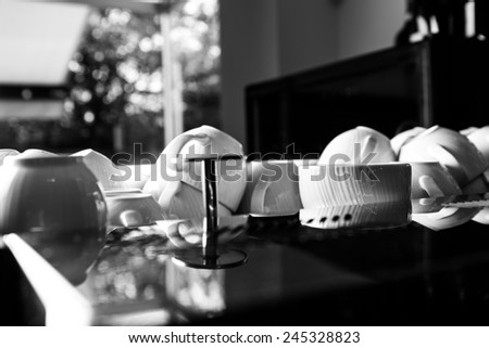 White coffee cups on the coffee machine - stock photo